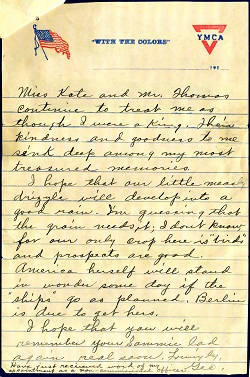 Figure 4. Letter from George Atkins to his grandmother Martha Rayburn, 1918.