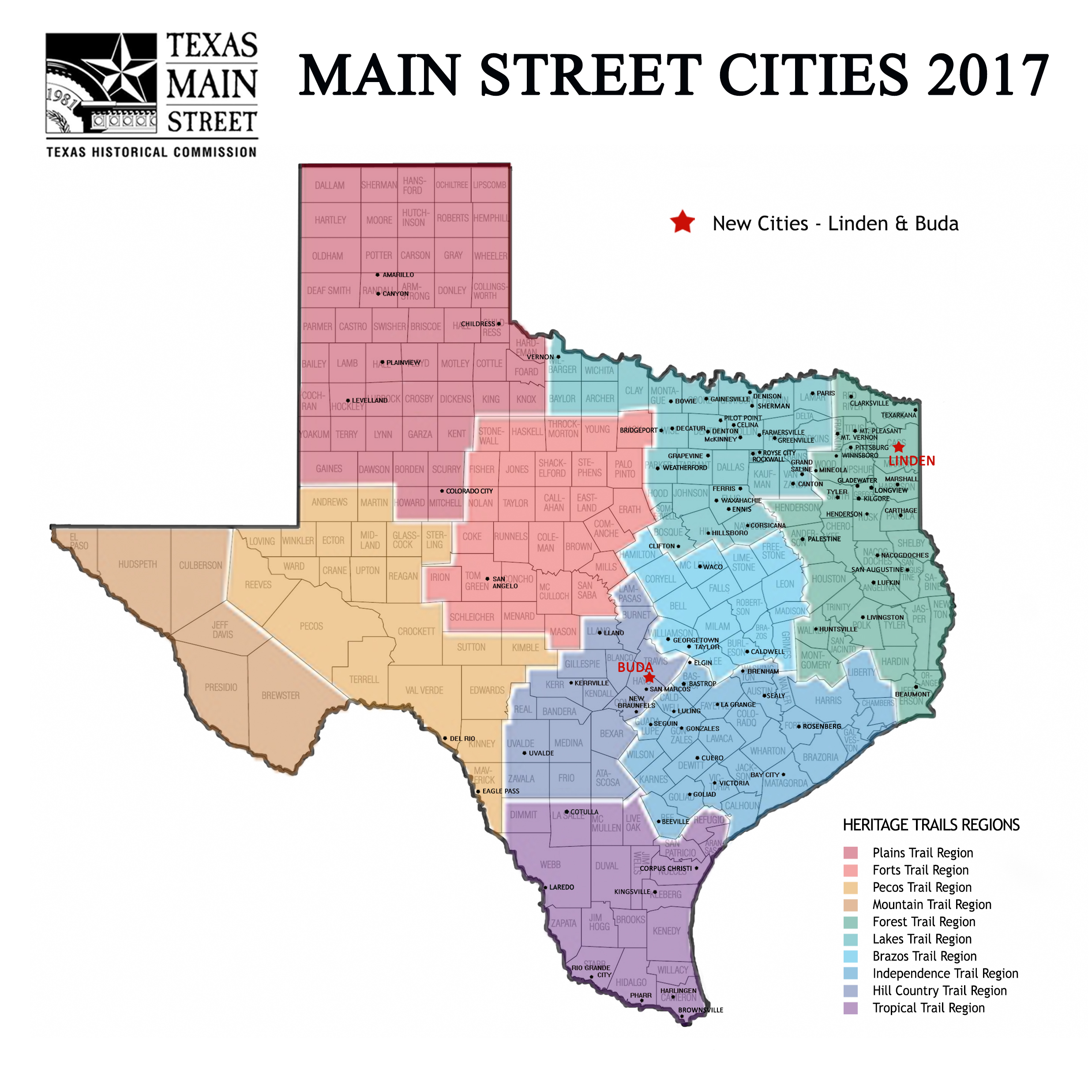 Multi Color Texas Map With Counties Capitals And Major Cities - Usa texas map