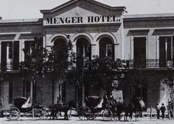 The Menger Hotel in downtown San Antonio in 1865.