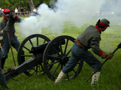 Reenactors set off the cannon