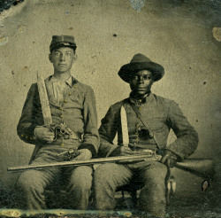 White and black Confederate soldiers