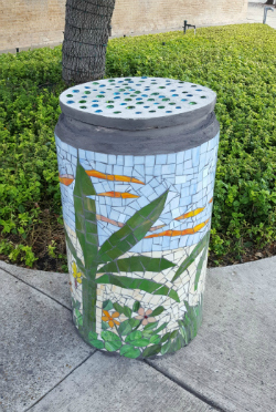 Mosaic art planter in Harlingen