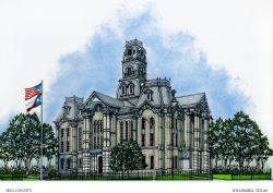 Illustration of the Hill County Courthouse