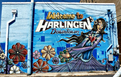 """Welcome to Harlingen's Downtown"" mural"