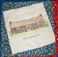 Replica log cabin quilt square