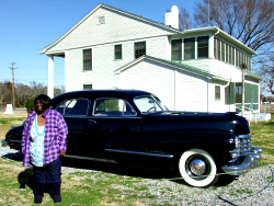 Barbara Ross with Sam Rayburn's Cadillac