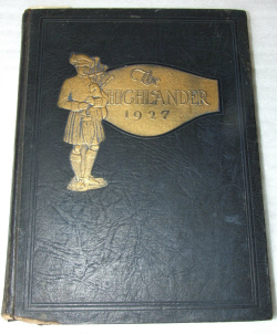 "Cover of ""The Highlander"" yearbook, 1927"