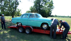 Plymouth Savoy unloaded after restoration.