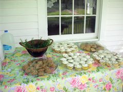 Cupcakes and cookies dispayed on a table