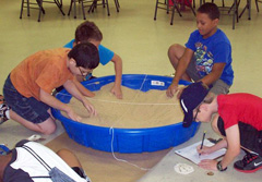 Campers participate in an activity