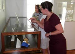 Campers look into an artifact display case