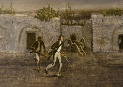 An illustration of Travis and Joe running with guns in hand.