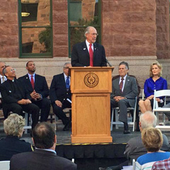 THC Chairman John L. Nau, III speaks at the rededication.