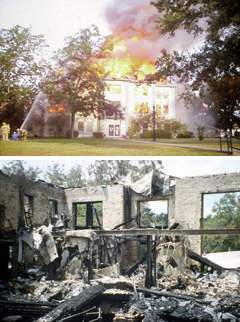 Top: Firefighters fight the blaze; Bottom: The aftermath of the fire.