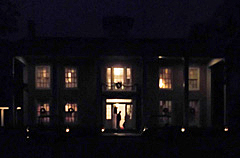 Varner-Hogg Plantation house lit by candlelight.