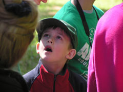 Young boy looking up at tour guide