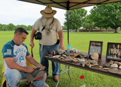Flint knapping at Caddo Mounds.