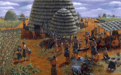 Painting of early Caddo village with grass house.