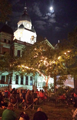 Movie night at the Denton courthouse.