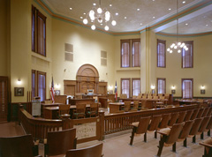 Restored courtroom in Ellis County Courthouse.