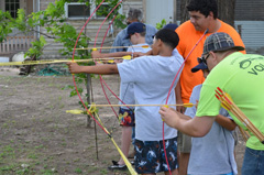 Campers practice archery