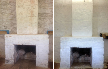 The fireplace before and after whitewashing.