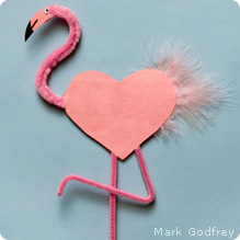Heart-shaped flamingo valentine