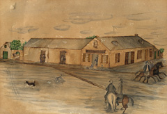 Illustration of Landmark Inn in 1865 with people on horseback.