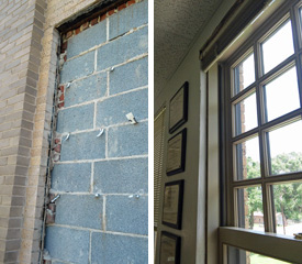At left, window is filled with bricks. At right, the restored window.