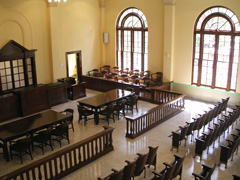 The restored district courtroom in San Augustine County Courthouse.