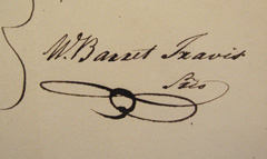 W. Barret Travis' signature.