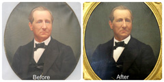 Before and after the restoration of the George Clapp portrait.