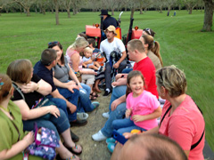 Guests take a hayride