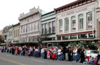 People lined up along Main Street in Georgetown, Texas waiting for a parade