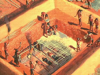 An artist's depiction of an elaborate burial tomb dating before 1,000 years ago.
