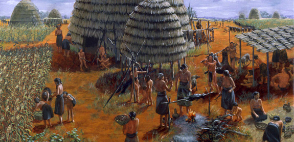 Illustration of Caddo village and grass huts.