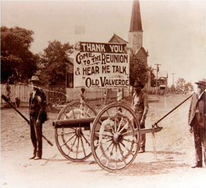 A ca. 1890 photo of veterans in Mexia participating in a community parade.