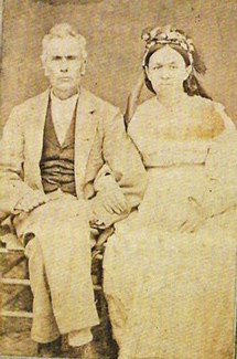 Faded carte de visite photograph showing Frances and Noah Lindsay.