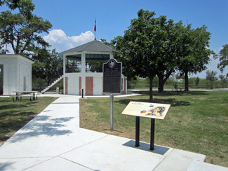 The renovated bandstand and interpretive signage at Fannin Battleground.