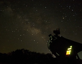 The starry night sky at Fort Griffin.