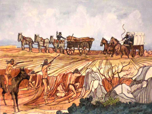 Illustration of skirmish between a wagon train and Apache Indians.