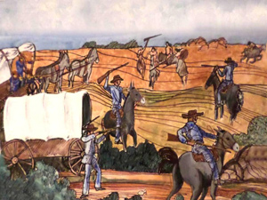 Illustration of skirmish between Fort Lancaster soldiers and American Indians.