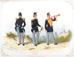 Dragoon plate of the 1851 Horstmann Brother's catalog showing from left to right: an officer, sergeant major, and musick of the Dragoons.