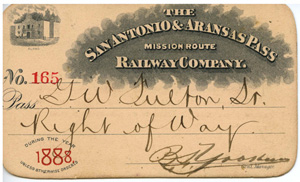 The front of George Fulton's SA&AP pass.