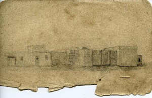 Sketch of the Alamo on torn paper.