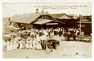 Postcard of the SA&AP Depot at the Rockport train station.