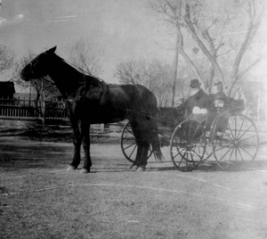 Joseph and Octavia Magoffin in a buggy probably on Magoffin Avenue, ca. 1900.