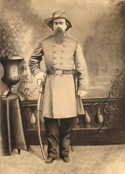 Charcoal drawing of confederate soldier.