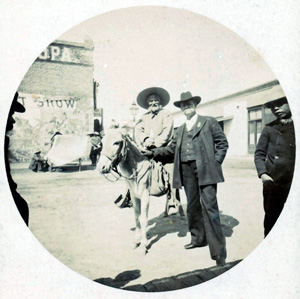 Charles Richardson with unknown man on mule in Cíudad Juarez, ca. 1890s.