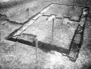 Foundations of a Patton-era slave quarter excavated at Varner-Hogg Plantation in 1982.